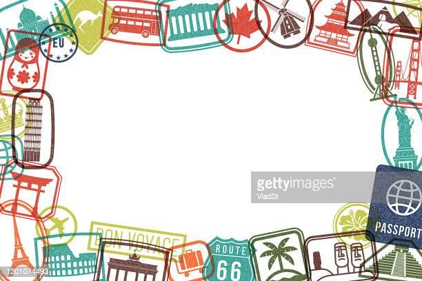 travel landmarks rubber stamps grunge picture frame grunge background - unesco world heritage site stock illustrations