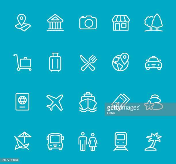 travel - line icon set - business travel stock illustrations, clip art, cartoons, & icons