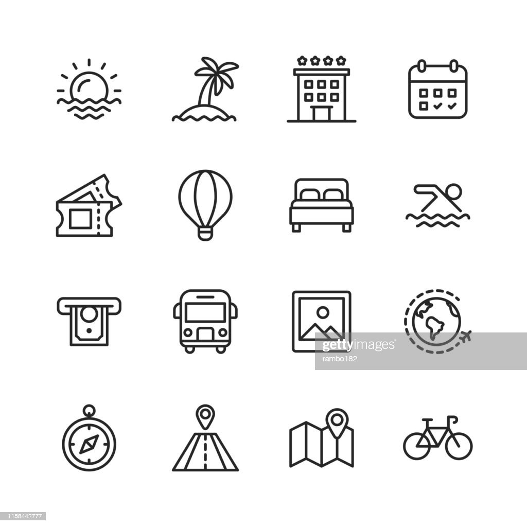 Travel Line Icons. Editable Stroke. Pixel Perfect. For Mobile and Web. Contains such icons as ---. : Stock Illustration