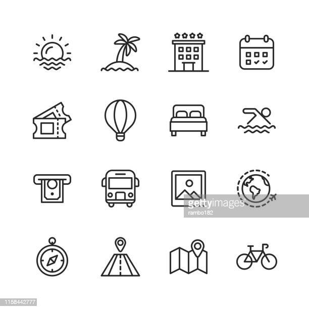 travel line icons. editable stroke. pixel perfect. for mobile and web. contains such icons as ---. - palm tree stock illustrations