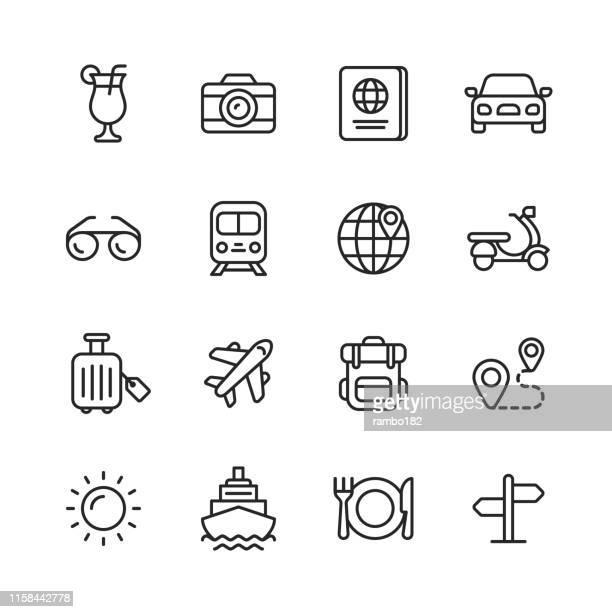 illustrazioni stock, clip art, cartoni animati e icone di tendenza di icone della linea di viaggio. tratto modificabile. pixel perfetto. per dispositivi mobili e web. contiene icone come ---. - vacanze
