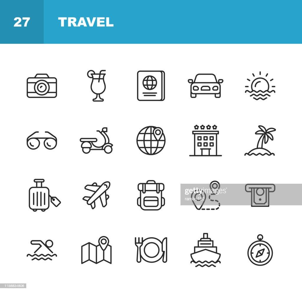 De pictogrammen van de reis lijn. Bewerkbare lijn. Pixel perfect. Voor mobiel en web. Bevat pictogrammen zoals camera, cocktail, paspoort, zonsondergang, vliegtuig, Hotel, cruiseschip, ATM, Palm boom, rugzak, restaurant. : Stockillustraties