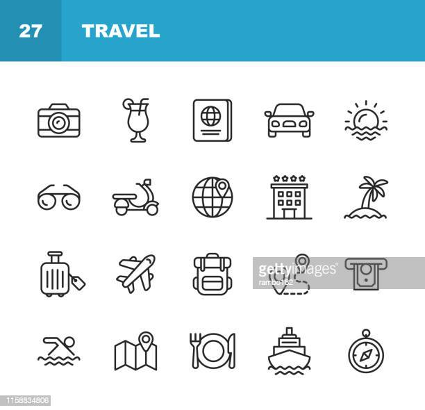 illustrazioni stock, clip art, cartoni animati e icone di tendenza di travel line icons. editable stroke. pixel perfect. for mobile and web. contains such icons as camera, cocktail, passport, sunset, plane, hotel, cruise ship, atm, palm tree, backpack, restaurant. - immagine