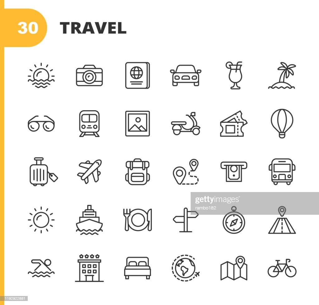 Travel line iconen. Bewerkbare lijn. Pixel perfect. Voor mobiel en Internet. Bevat dergelijke iconen zoals camera, cocktail, paspoort, zonsondergang, vliegtuig, Hotel, cruiseschip, GELDAUTOMAAT, Palm boom, rugzak, restaurant. : Stockillustraties