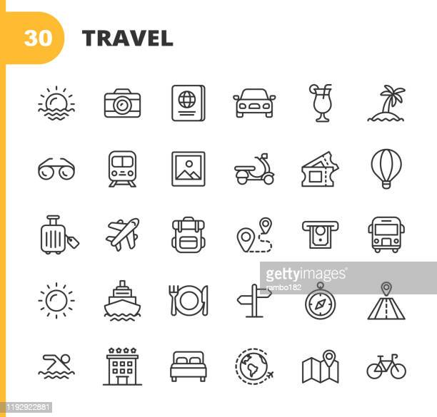 illustrazioni stock, clip art, cartoni animati e icone di tendenza di travel line icons. editable stroke. pixel perfect. for mobile and web. contains such icons as camera, cocktail, passport, sunset, plane, hotel, cruise ship, atm, palm tree, backpack, restaurant. - vacanze