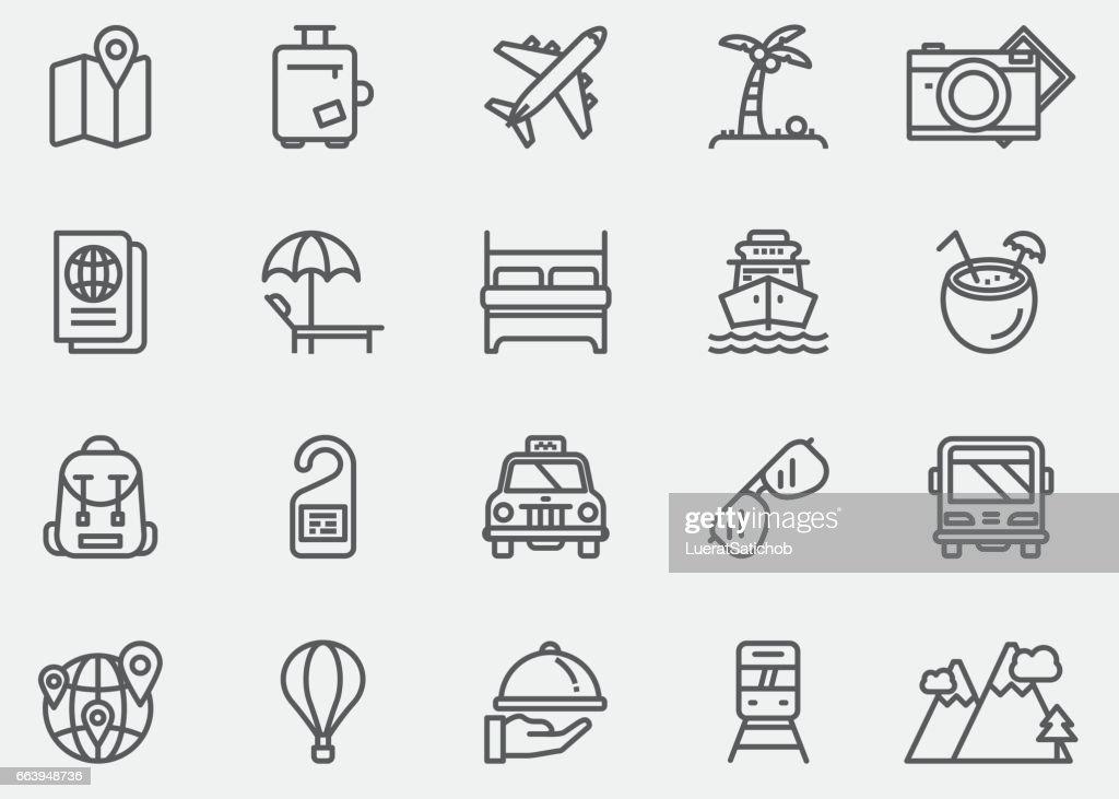 Travel Line Icons | EPS 10 : Stock Illustration