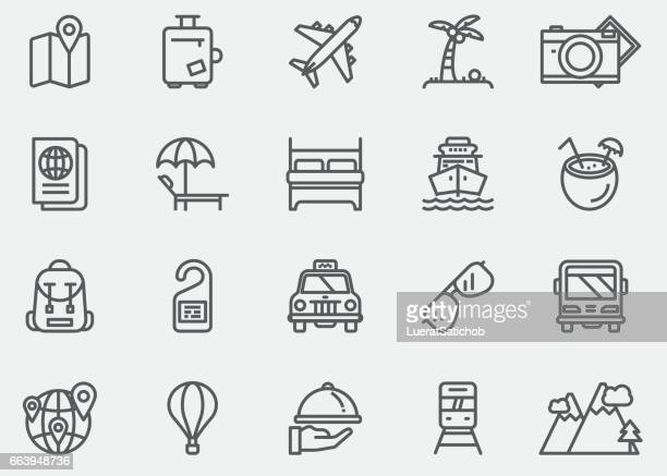 travel line icons | eps 10 - land vehicle stock illustrations