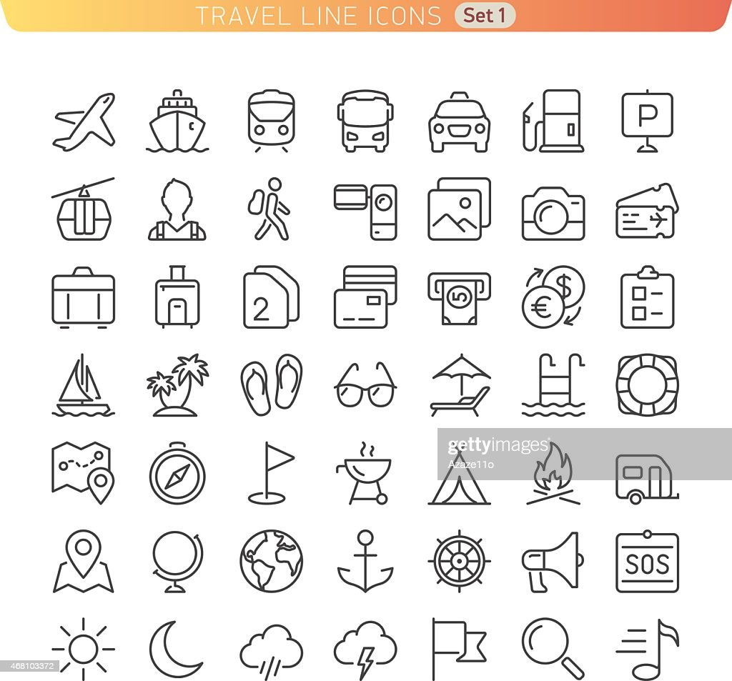 Travel Line Icons. Set 1.