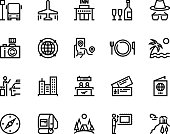 Travel line icons. Vacation plane tourism summer airplane luggage forest adventure, museum restaurants and shopping tour vector