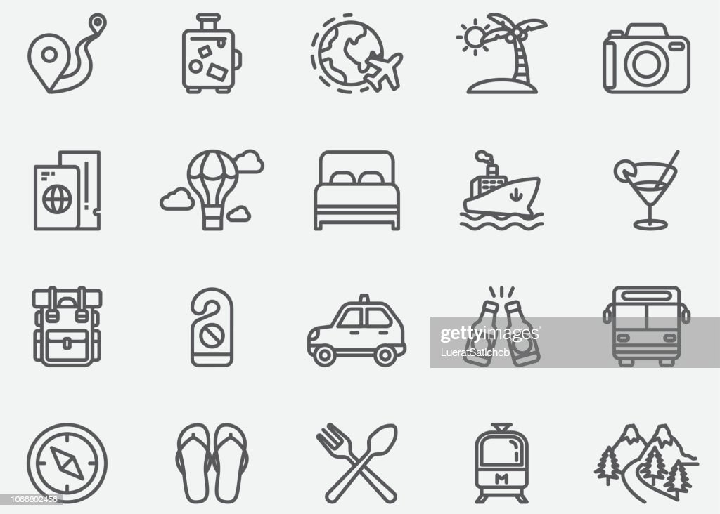 Reizen lijn pictogrammen : Stockillustraties