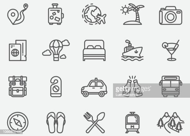 travel line icons - travel destinations stock-grafiken, -clipart, -cartoons und -symbole
