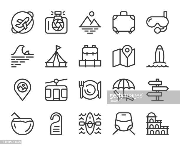 travel - line icons - recreational pursuit stock illustrations, clip art, cartoons, & icons