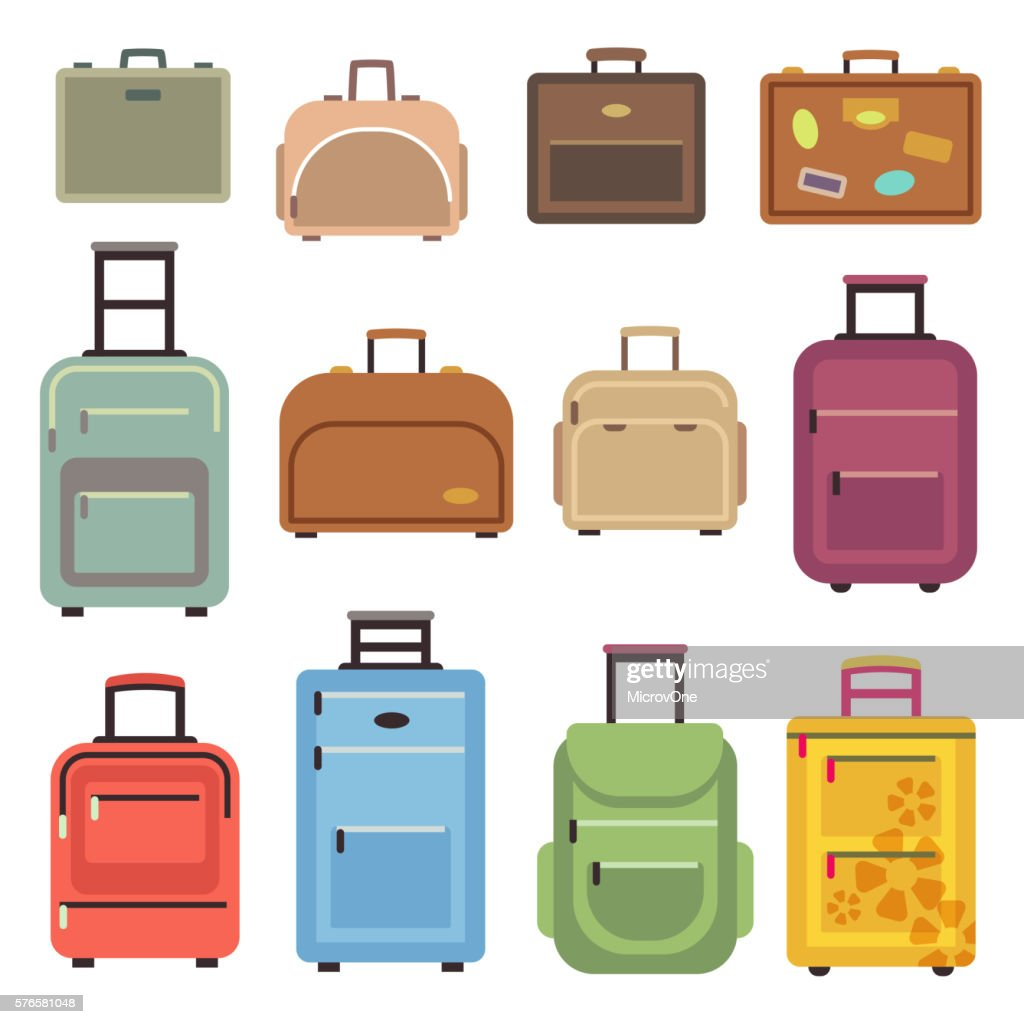 Travel luggage bag, suitcase vector flat icons
