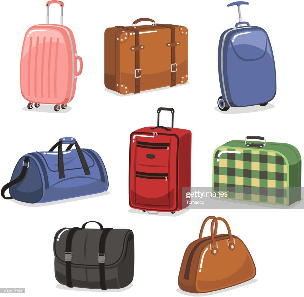 travel Luggage cartoon set