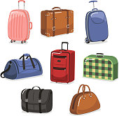 travel Luggage cartoon set