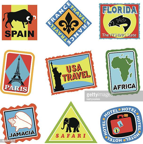 travel luggage labels or stickers in color - luggage tag stock illustrations, clip art, cartoons, & icons