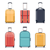 Travel luggage or suitcase icons vector illustration