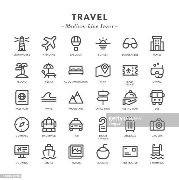 travel - medium line icons - scuba diving stock illustrations