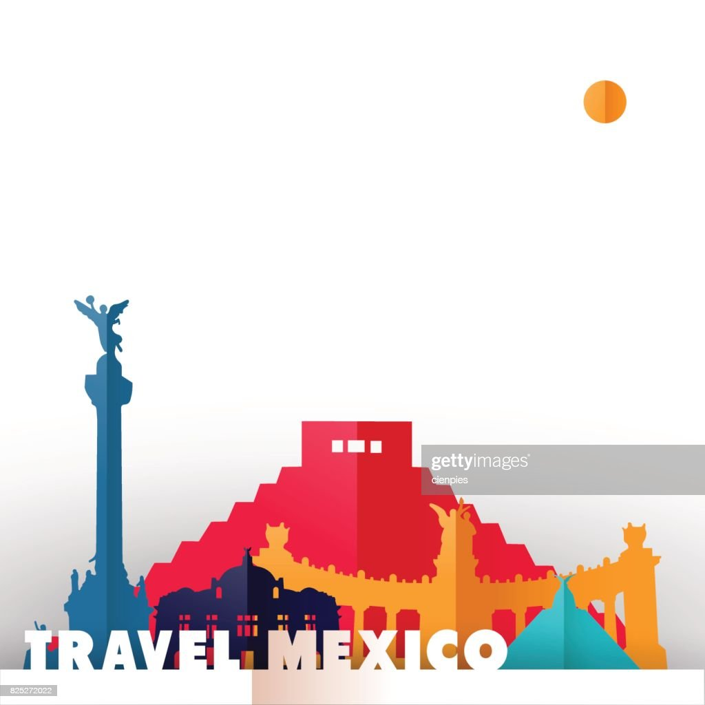 Travel Mexico country paper cut world monuments