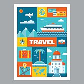 Travel - mosaic poster with icons in flat design style