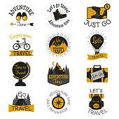 Travel motivation badges vector set.