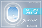 Travel offer banner concept with porthole airplane. Best tours on sale. Vacation banner ad. Vector illustration. Applicable for voucher,ticket, flyer. Eps 10