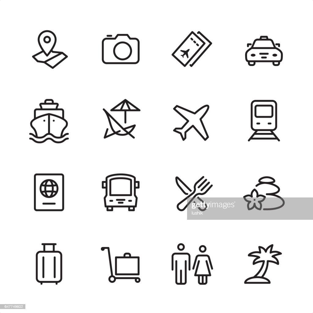 Reisen - Gliederung-Icon-set : Stock-Illustration
