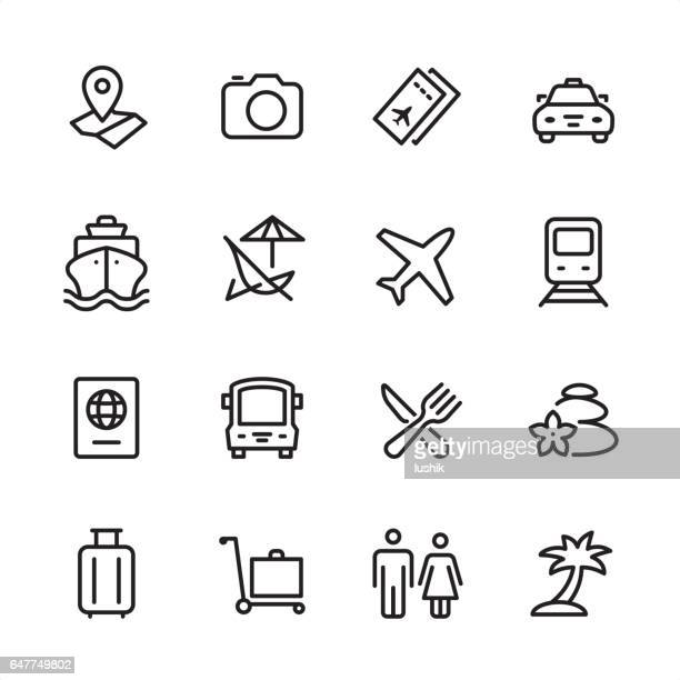 travel - outline icon set - business travel stock illustrations, clip art, cartoons, & icons