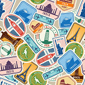 Travel pattern. Immigration stamps stickers with historical cultural objects travelling visa immigration vector textile seamless design