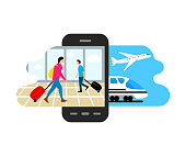 Travel, people with suitcases go to the airport and railway station with train and airplane, vector illustration and vector design