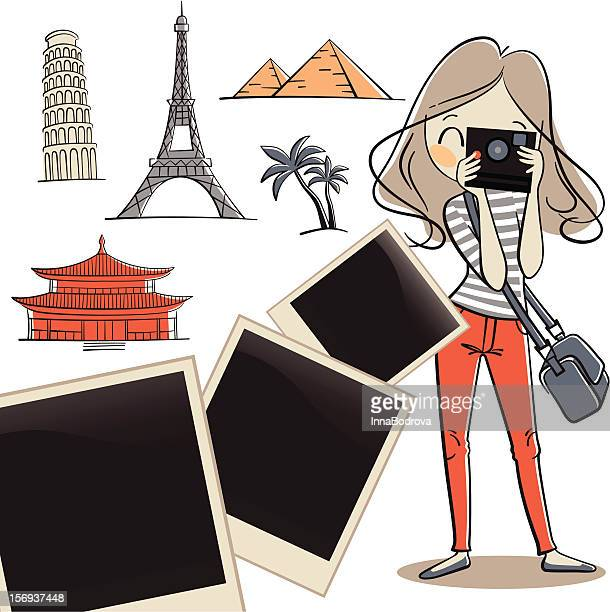 travel photo. - leaning tower of pisa stock illustrations, clip art, cartoons, & icons