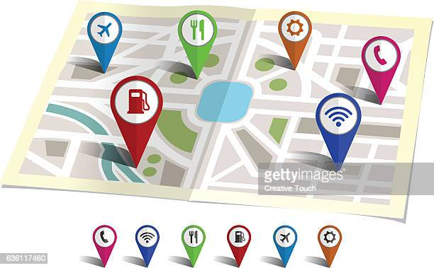travel pins on the map - pin stock illustrations, clip art, cartoons, & icons