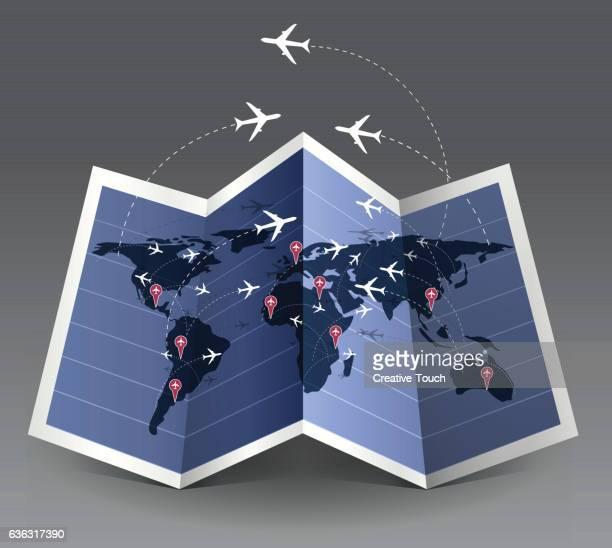 travel pins - airport terminal stock illustrations, clip art, cartoons, & icons