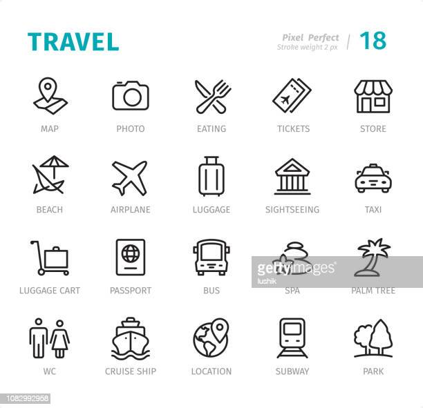 travel - pixel perfect line icons with captions - business travel stock illustrations, clip art, cartoons, & icons
