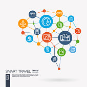 Travel plane, tour map, hotel booking, flight ticket integrated business vector icons. Digital mesh smart brain idea. Futuristic interact neural network grid connect.