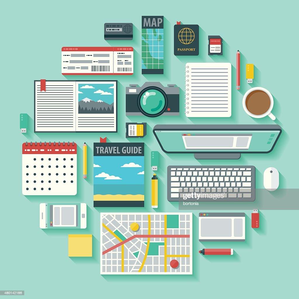 Travel Planning Vector Icon Set