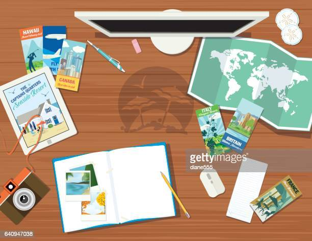 travel planning - pamphlet stock illustrations