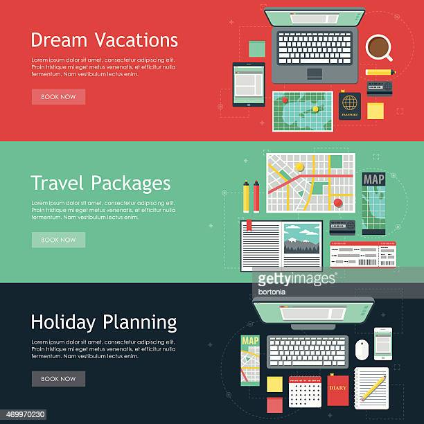 Travel Planning Vector Web Banner Set