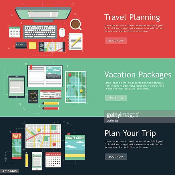 ilustrações, clipart, desenhos animados e ícones de planejamento de viagem vetor banner web conjunto - lorem ipsum