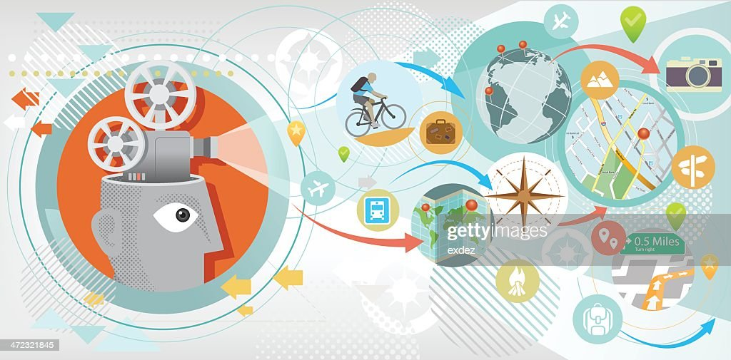 Travel projection : stock illustration