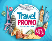 Travel promo vector banner design with world's famous tourist landmarks elements