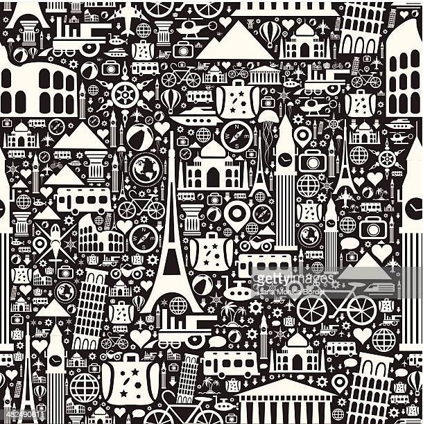 travel seamless pattern - french culture stock illustrations