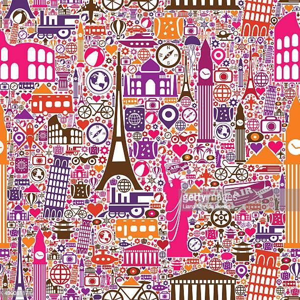 travel seamless pattern - monumente stock illustrations