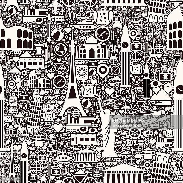 travel seamless pattern - monument stock illustrations