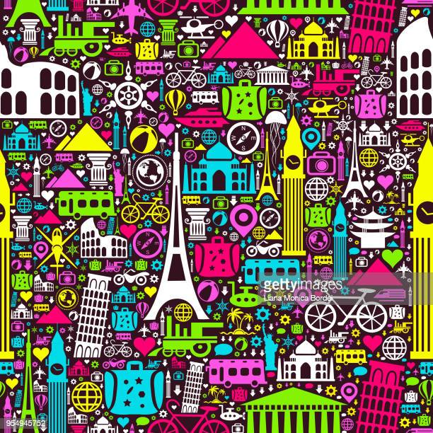 travel seamless pattern - unesco world heritage site stock illustrations