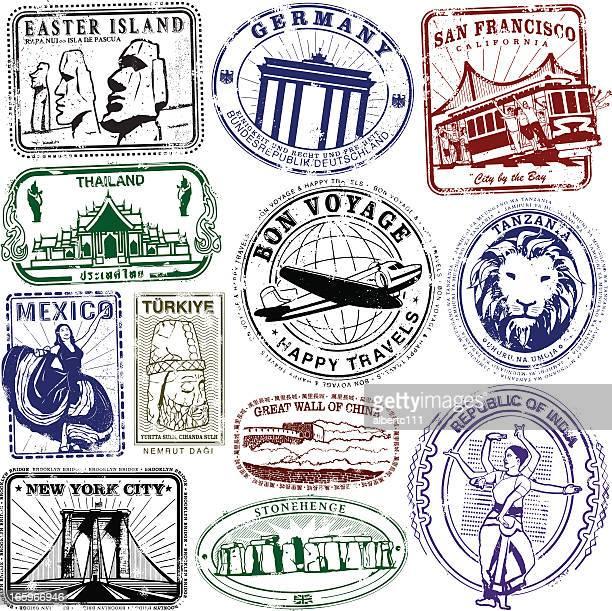 ilustrações de stock, clip art, desenhos animados e ícones de viagens de selos bon boyage - megalith