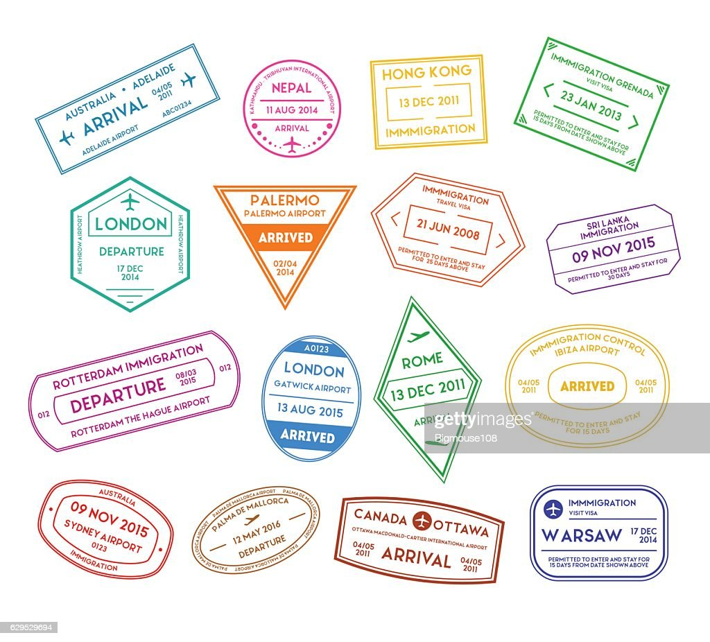 Travel Stamps Color Set. Vector