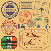 Travel stamps or symbols set airport theme