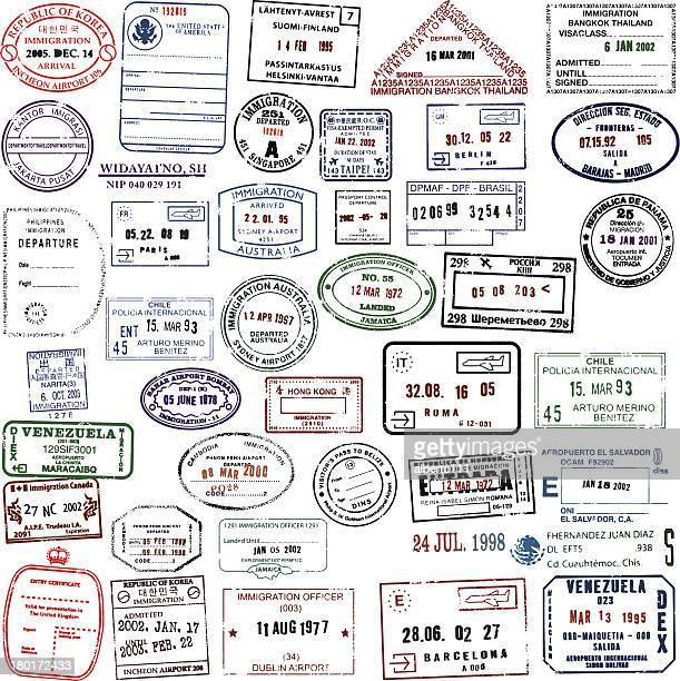 reise briefmarken super-kollektion - us kultur stock-grafiken, -clipart, -cartoons und -symbole