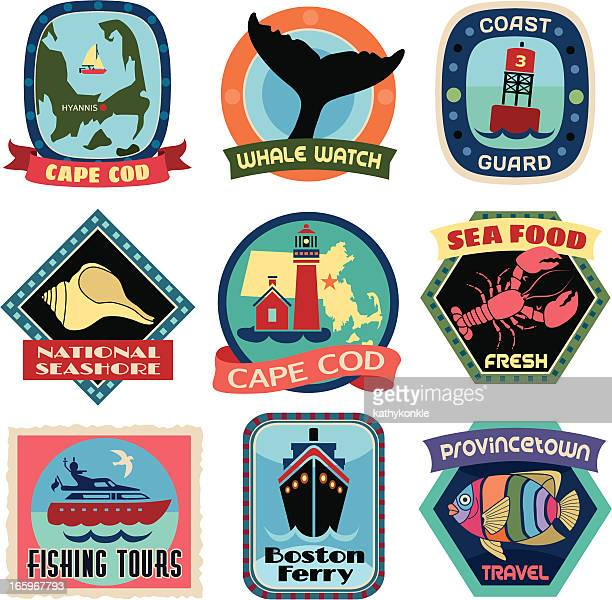 travel stickers cape cod - travel tag stock illustrations, clip art, cartoons, & icons